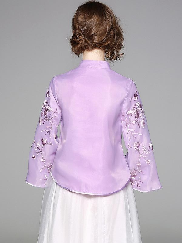 Chinese Style Top in Purple and Apricot with Floral Print - Zebrant