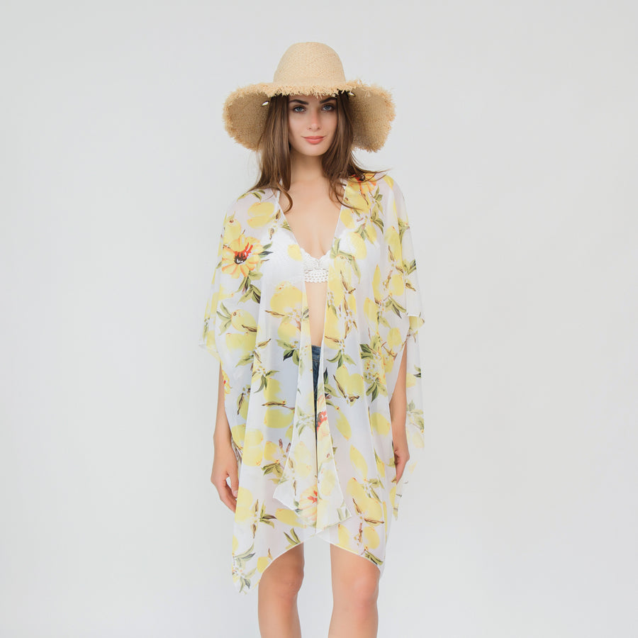 3 Style Chiffon Lemon Pattern Beach Jacket Bikini Swimsuit Cover - Zebrant