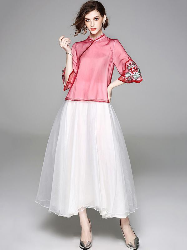 Traditional Chinese Top from Organza, Two Colors - Zebrant
