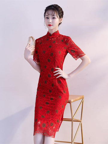 Red Lace Dacron Split-side Midi Cheongsam - Zebrant