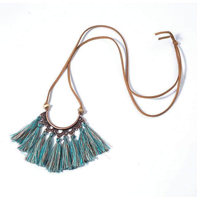 Popular tassel long fashion creative flower vintage necklace - Zebrant