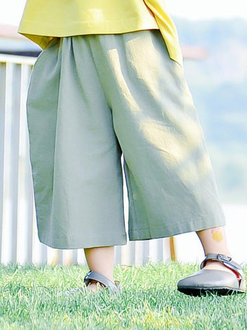 Green Ramie Cotton Linen Wide Leg Kids Pants