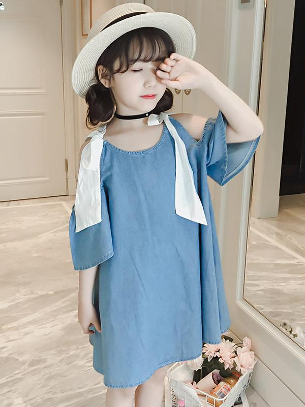 Cowboy Off-the-shoulder Kids Dress - Zebrant