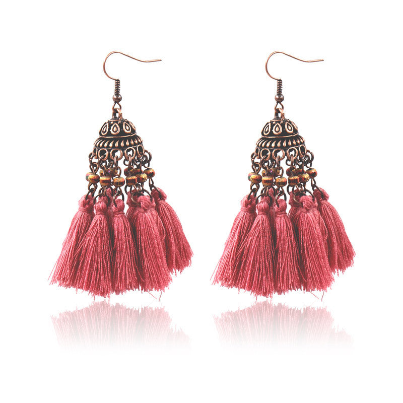 exaggerated crystal long retro earrings - Zebrant