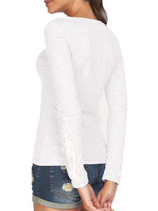 New Long Sleeve Cotton Lace T-Shirt - Zebrant