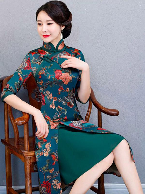 Autumn Flower Print Split-front Stand-collar Long Cheongsam - Zebrant