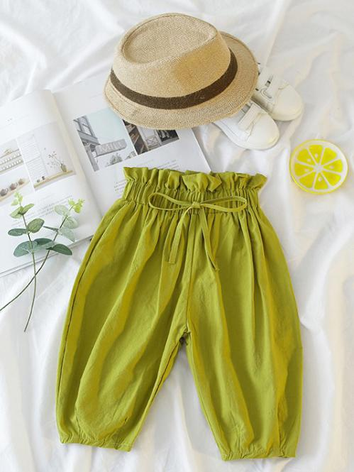 Green&Beige Cotton Kids Harem Pants