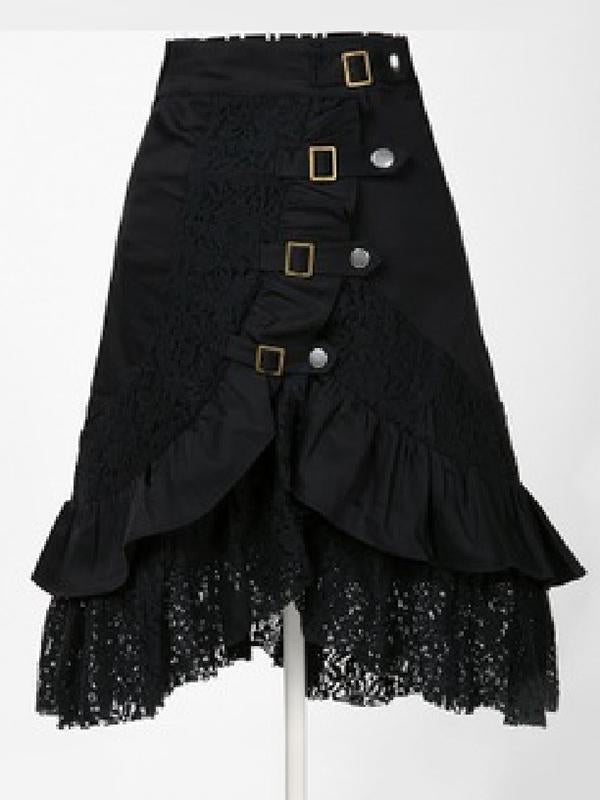 Punk Solid Cropped Split-Joint Lace Skirts Bottoms - Zebrant