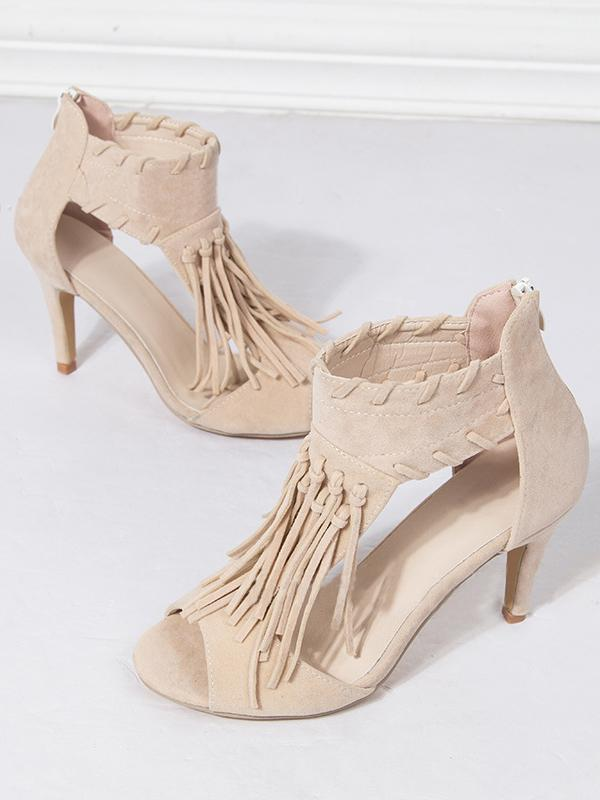 Pretty Tassels Heels Shoes - Zebrant