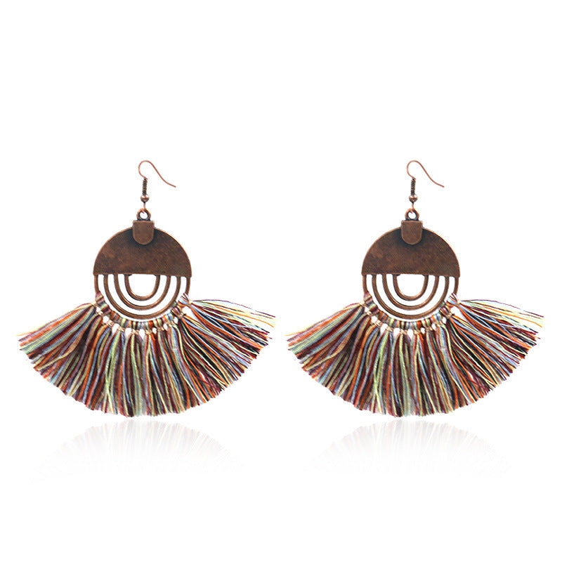 8 color bohemian Personality fan-shaped tassel earrings