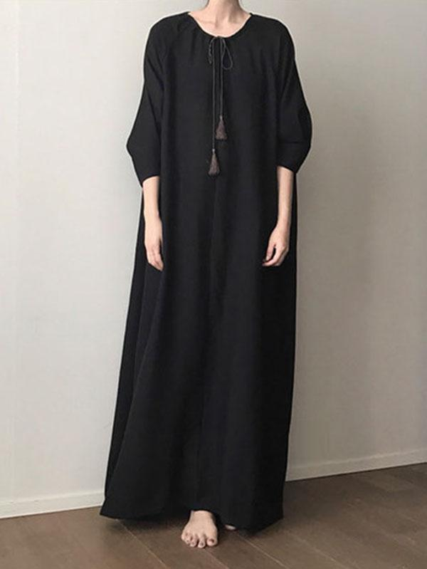 Black Vintage Daily Long Dress with Ropes on the Neck