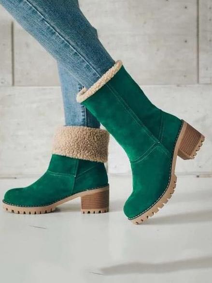 Chunky Mid Calf Winter Boots with Artificial Fur - Zebrant