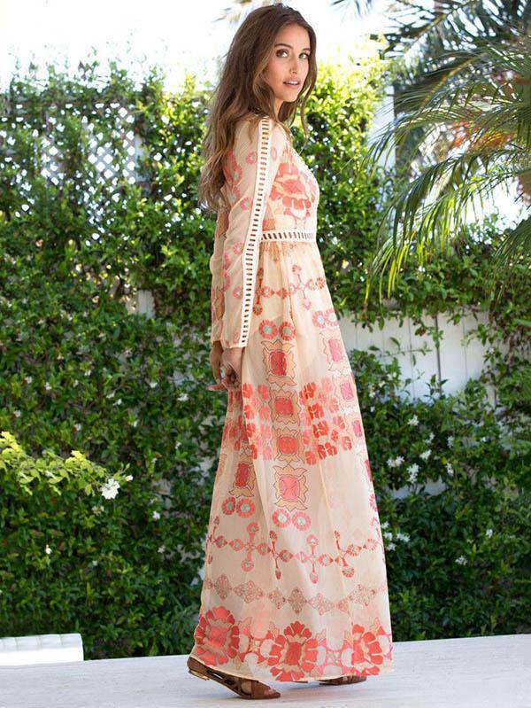 Bohemia long sleeves lace Maxi Dress - Zebrant