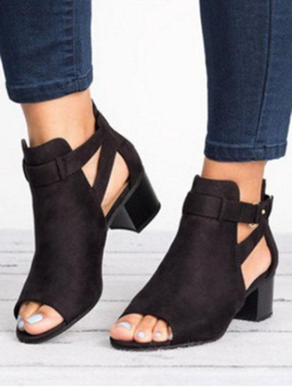 Fashion Open-toe Mid-heel Sandals Shoes - Zebrant