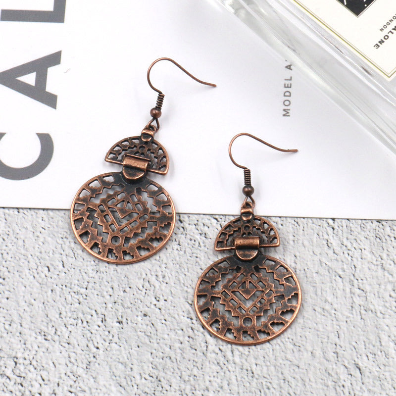 Fashion hollow round alloy popular decoration earrings - Zebrant