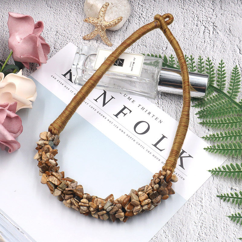 Clavicle chain gravel gemstone pendant exaggerated necklace