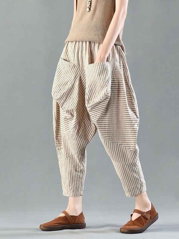 Loose Cotton Stripe Bloomers - Zebrant