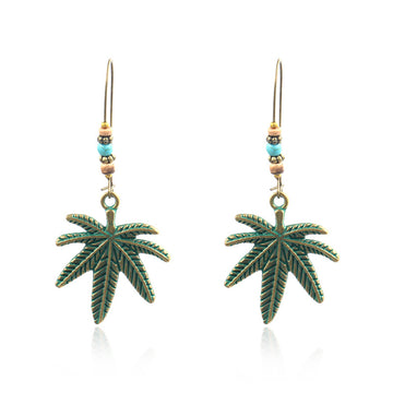 Creative Leaf Alloy Pendant Earrings Turquoise Earrings Wholesale - Zebrant