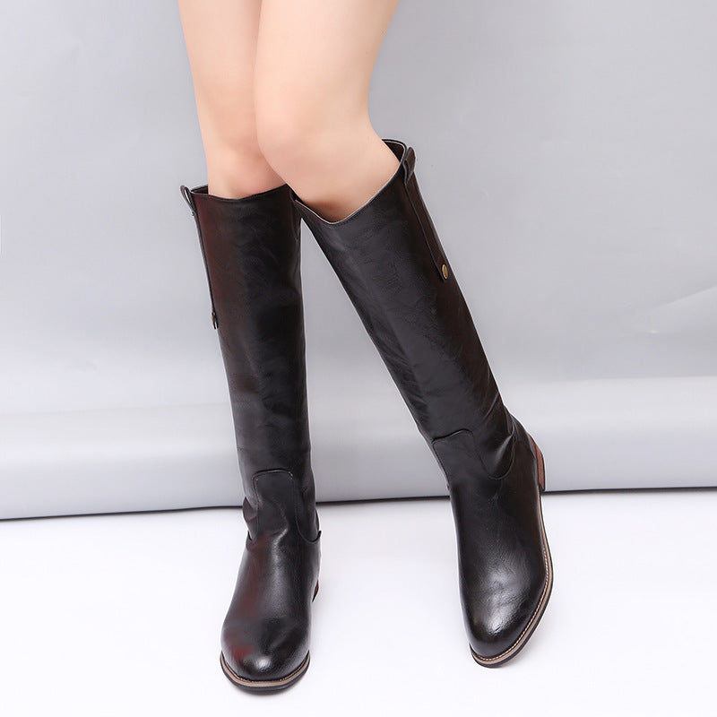 Fashion Round Head Long Boots - Zebrant