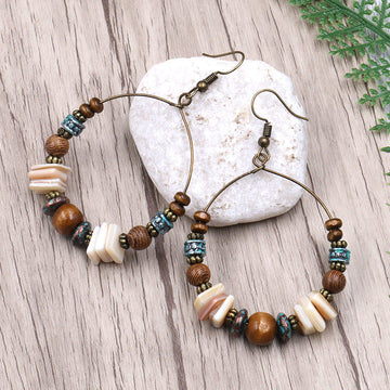 Big circle creative shell wood beads bohemian Earrings Wholesale - Zebrant