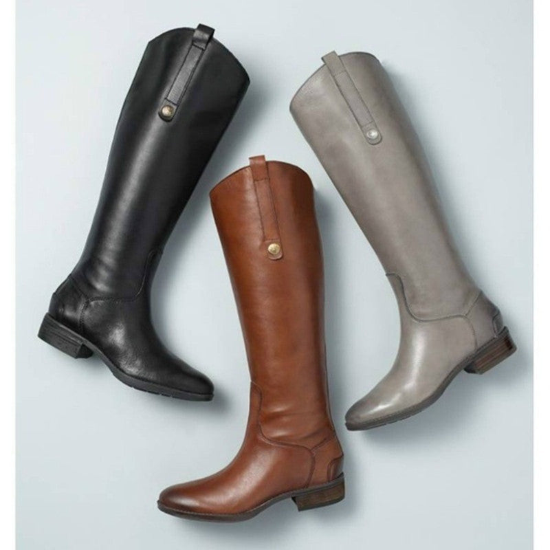 Fashion Round Head Long Boots