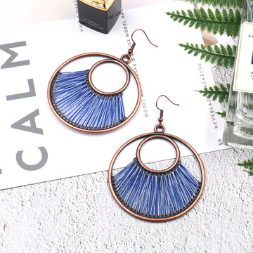Hand-woven fashion big circle female bohemian hollow exaggeration Earrings Wholesale