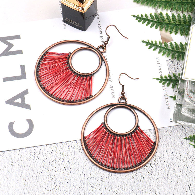 Hand-woven fashion big circle female bohemian hollow exaggeration Earrings Wholesale - Zebrant