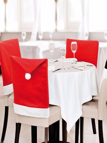 Christmas Decoration For Chairs, Chair Back Cover in Red Hat Style - Zebrant
