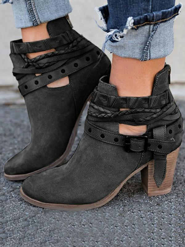 Fashion Buckle Mid-heel Ankle Boots Shoes - Zebrant
