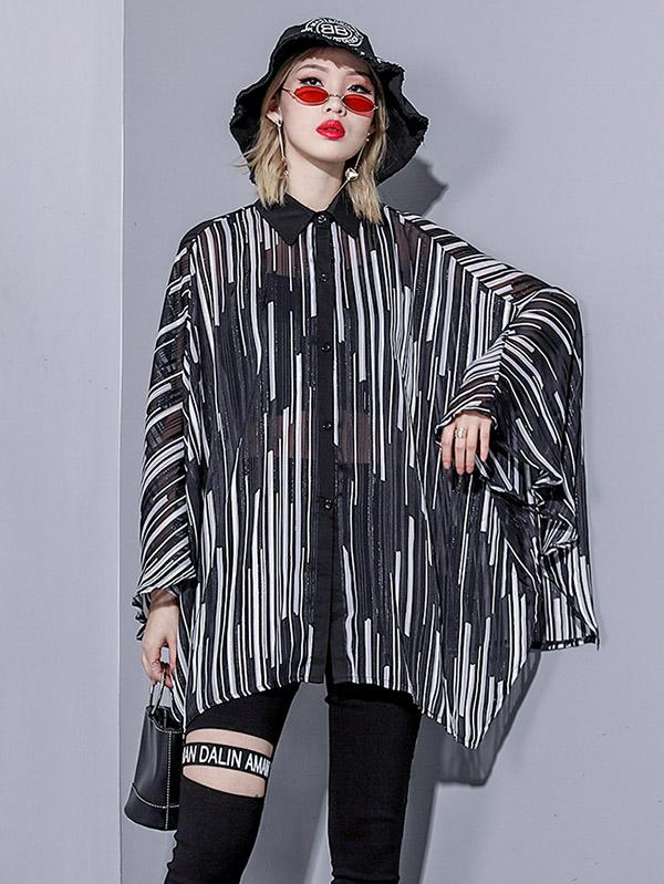 Stripes Loose Plus Size Batwing Sleeves Fashion Shirt Top - Zebrant