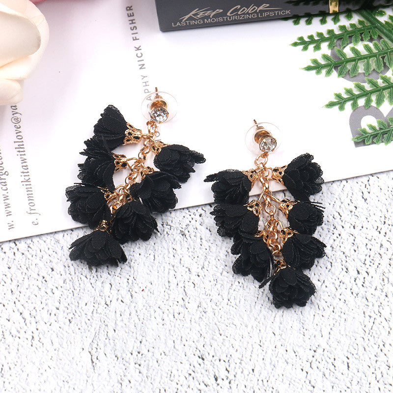 Flower earrings personality creative multi-layer tassel Bohemian national style Earrings Wholesale - Zebrant
