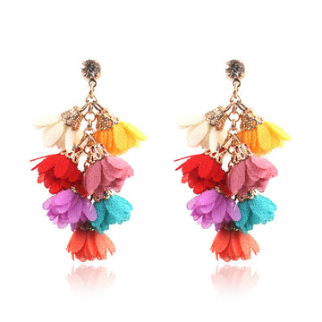 Flower earrings personality creative multi-layer tassel Bohemian national style Earrings Wholesale