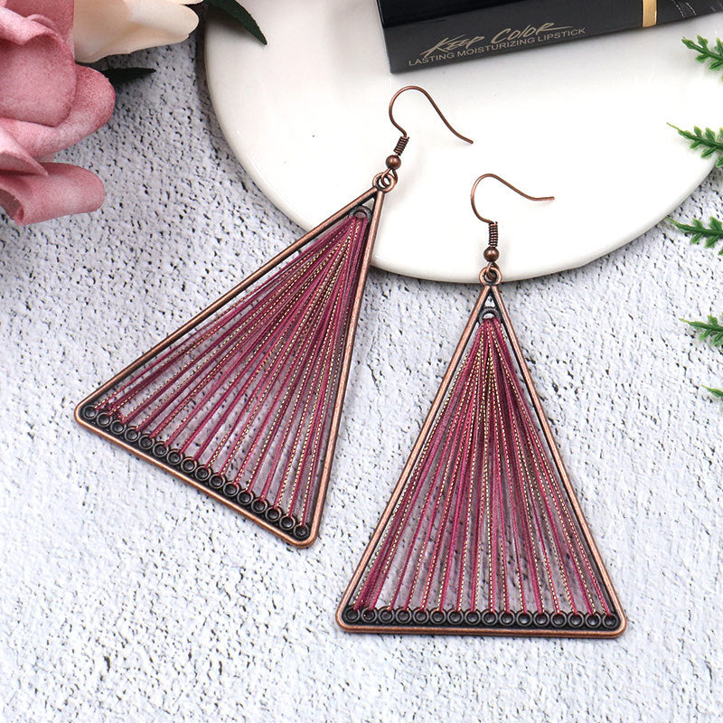 4 color Fashion alloy hand-woven Bohemian jewelry earrings - Zebrant