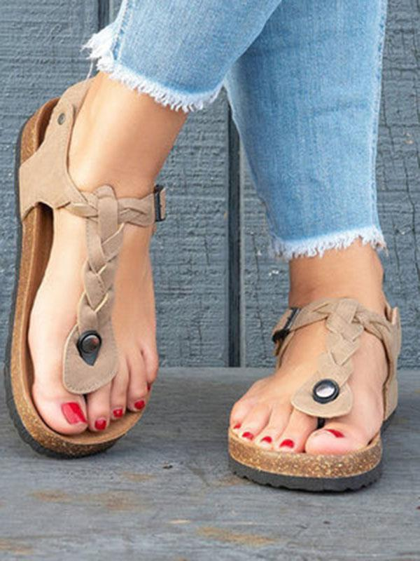 Casual Solid Toe Low-heel Sandal Shoes - Zebrant