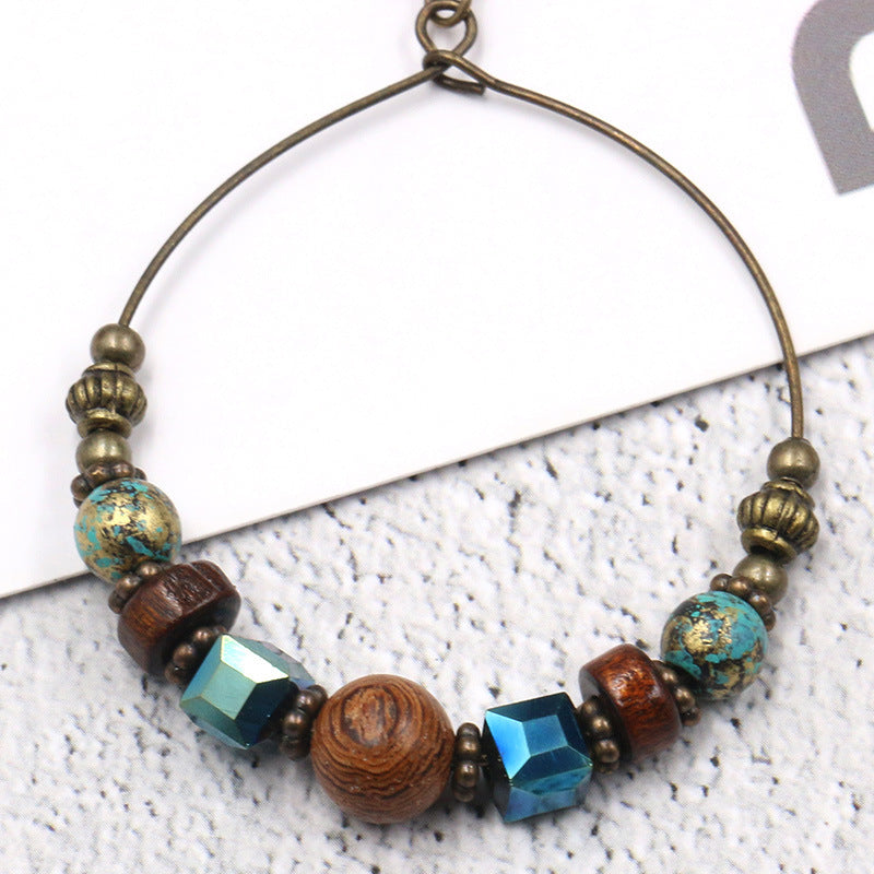 2 COLOR Big circle fashion round creative wooden beads turquoise earrings - Zebrant