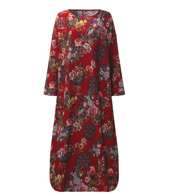 AUTUMN LOOSE FLOWER PRINT MAXI DRESS - Zebrant