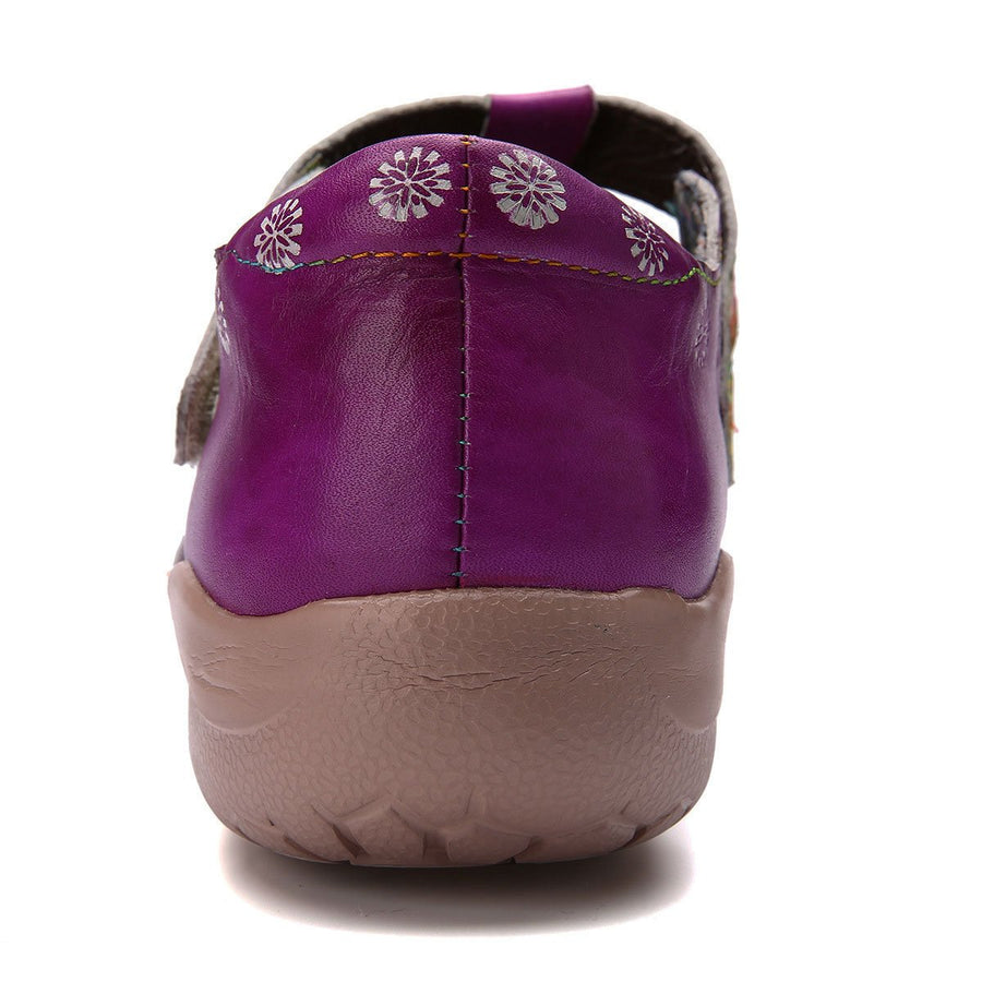 Retro Comfortable Purple Daily Leather Magic Tape Loafers - Zebrant