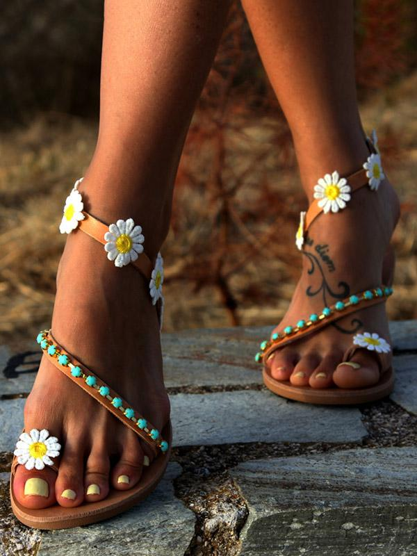 Pretty Flower Flat Sandals - Zebrant