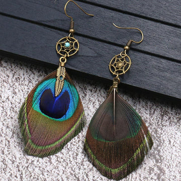 dream catcher Bohemian fashion peacock feather Earrings Wholesale - Zebrant