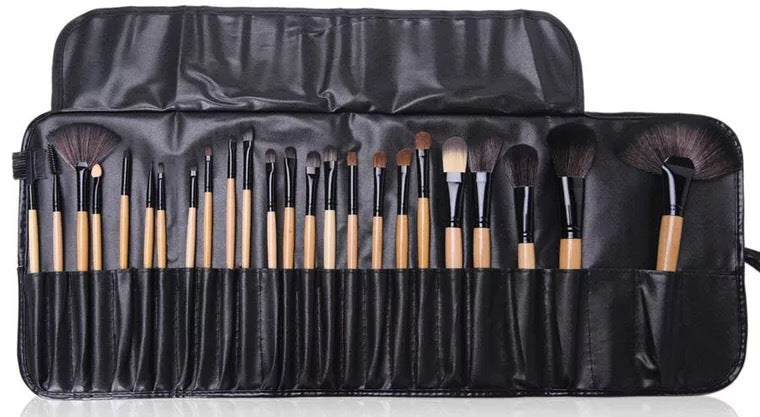 24-piece Professional Cosmetic Makeup Brush Set Kit with Synthetic Leather Case - Zebrant