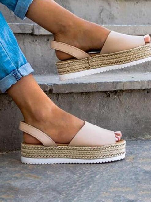 Fashion Open-toe Straw Plaited Flats Sandal Shoes