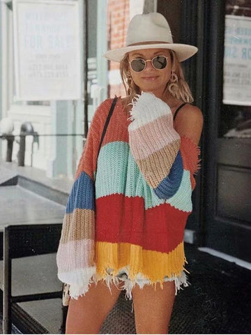 Fashion V-neck Backless Knitting Striped Rainbow Colored Sweater Tops - Zebrant