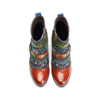 Palace retro style fashion handmade leather boots