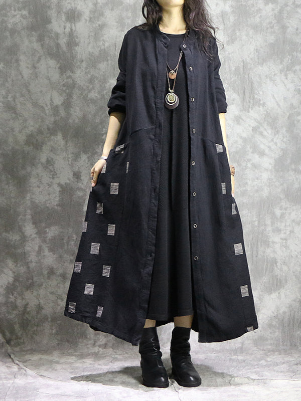 Vintage Geometry Split-joint Cape Dress - Zebrant
