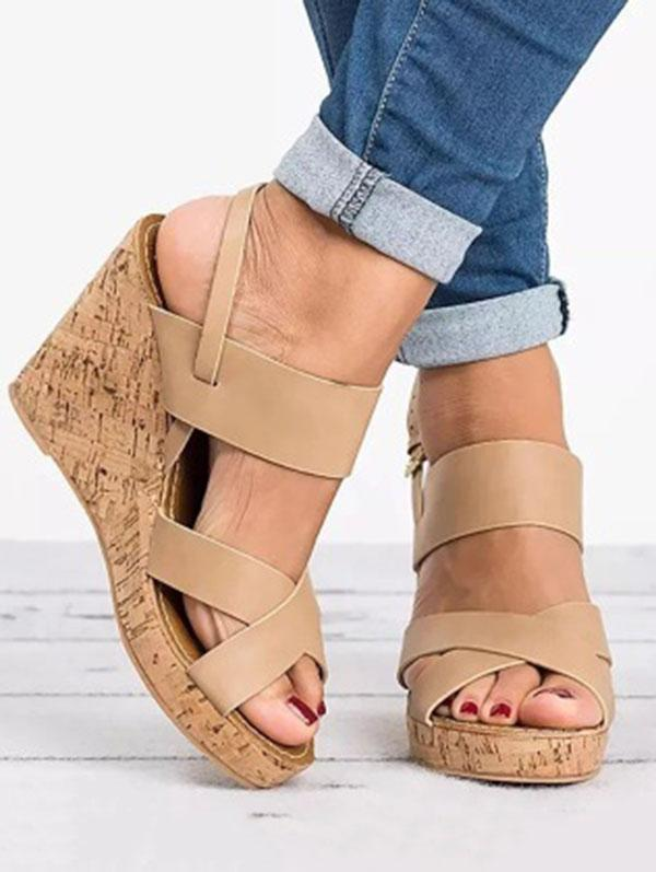 Fashion Slipsole Open-toe High Wedge Heels  Sandals Shoes