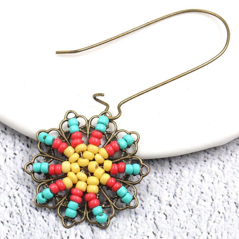 Bohemian ethnic style flower earrings rice beads hand-woven Earrings Wholesale - Zebrant