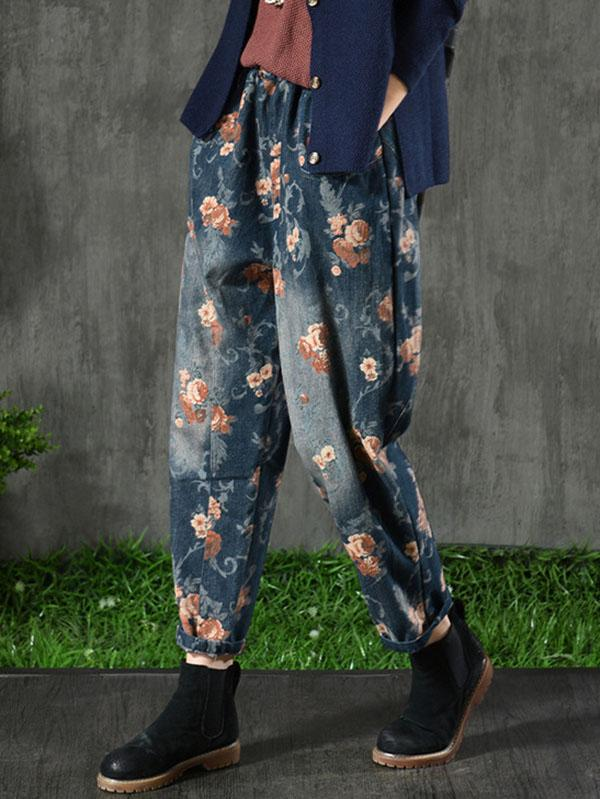 Vintage Denim Floral Harem Pants