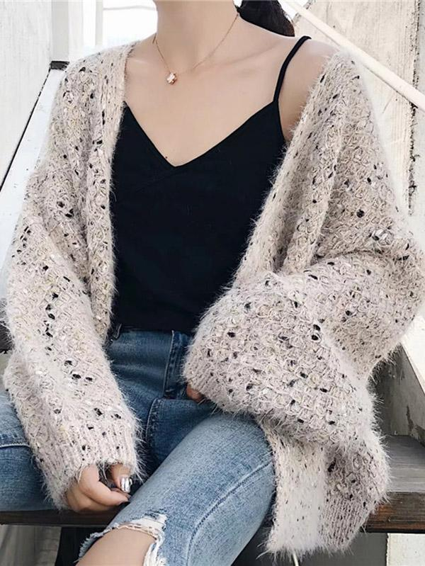Long Sleeves Loose Cardigan Sweater Tops - Zebrant