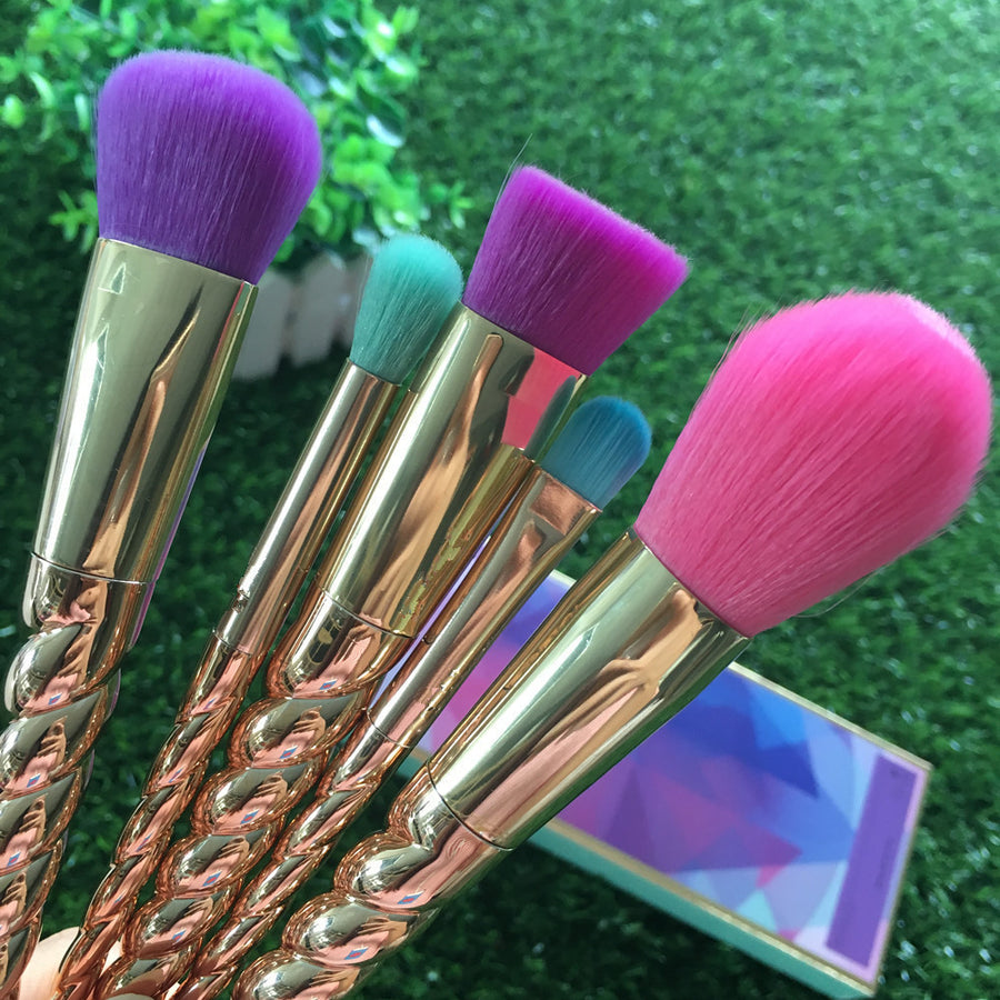 Makeup Brush Set 5 Pcs Thread Stick Unicorn Cosmetic  Brushes Kit - Zebrant