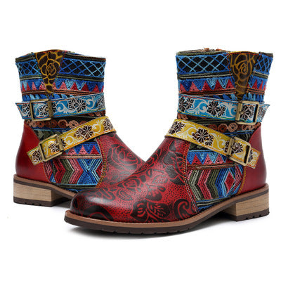 Bohemian new casual retro ethnic style leather boots